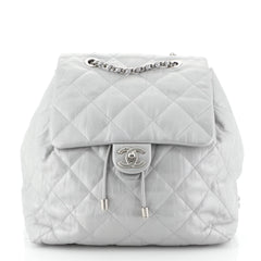 Chanel Ground Control Flap Backpack Quilted Iridescent Calfskin Small Metallic 45658105