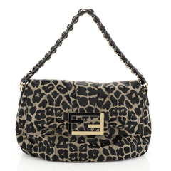 Fendi Mia Flap Bag Printed Fabric Black 45658113