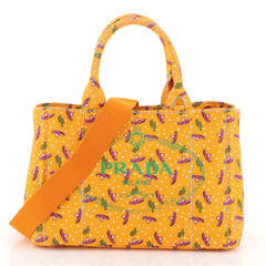 Prada Canapa Convertible Tote Printed Canvas Mini Orange 4565855