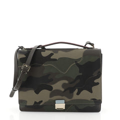 Valentino Messenger Bag Camo Leather and Canvas Medium Green 4565873