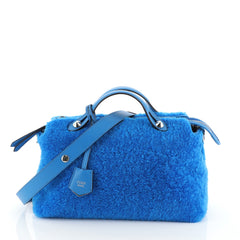 Fendi By The Way Satchel Shearling Small Blue 4565877