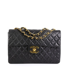 Chanel Vintage Classic Single Flap Bag Quilted Lambskin Maxi Black 4565878
