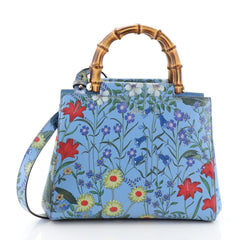 Gucci Nymphaea Tote Floral Printed Leather Small Blue 4565887