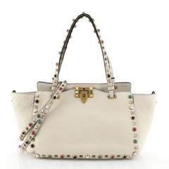 Rolling Rockstud Tote Leather with Cabochons Small