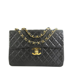Chanel Vintage Classic Single Flap Bag Quilted Lambskin Maxi Black 4565895