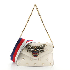 Broadway Pearly Bee Shoulder Bag Embellished Leather Mini