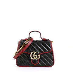 GG Marmont Top Handle Flap Bag Diagonal Quilted Leather Mini