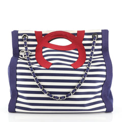 Chanel Mariniere Chain Tote Striped Canvas Large White 4570813