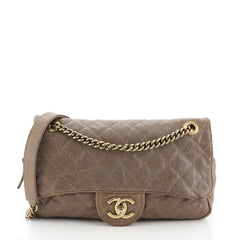 Chanel Shiva Flap Bag Quilted Caviar Large Brown 457101