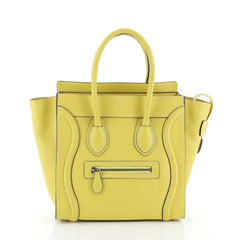 Celine Luggage Handbag Grainy Leather Micro Yellow 457141