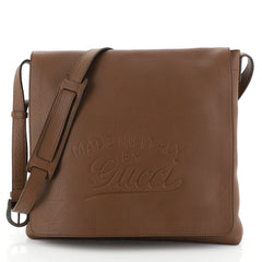Gucci Script Flap Messenger Leather Medium Brown 457171