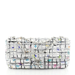 Chanel CC Flap Bag Hand Painted Leather EW White 457651