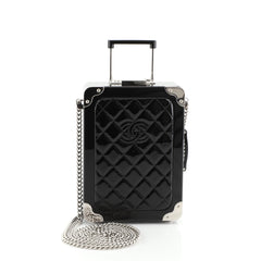 Chanel Trolley Minaudiere Plexiglass and Quilted Patent Black 457661