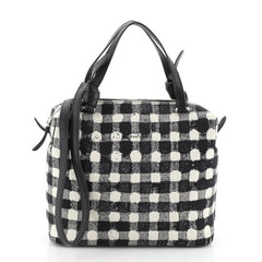 Celine Soft Cube Bag Vichy Fabric Small White 4576918
