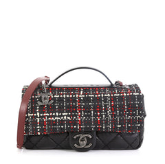 Chanel Airlines Top Handle Flap Bag Tweed and Quilted Aged Calfskin Medium Black 457695