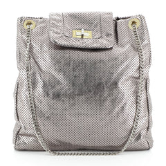 Chanel Drill Tote Perforated Leather Large Silver 4576985