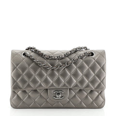 Chanel Classic Double Flap Bag Quilted Lambskin Medium Gray 4577516
