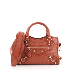 Balenciaga City Giant Studs Bag Leather Mini Red 4578525