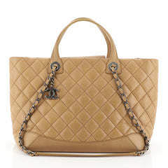 Chanel Easy Shopping Tote Quilted Lambskin Medium Brown 457879