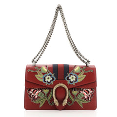 Gucci Web Dionysus Bag Embroidered Leather Small Red 457881