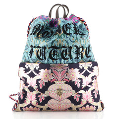 Gucci Drawstring Backpack Brocade Large Blue 4580721