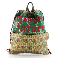 Gucci Drawstring Backpack Brocade Large Green 4580722