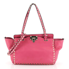 Valentino Rockstud Tote Soft Leather Small Pink 458133