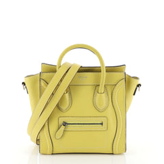 Celine Luggage Handbag Grainy Leather Nano Yellow 458137