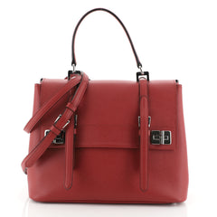 Prada Half Flap Double Turn Lock Satchel Saffiano Leather Large Red 458301