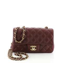 Chanel Classic Single Flap Bag Quilted Caviar Mini Red 458362