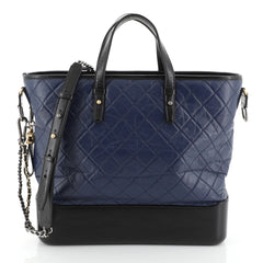 Chanel Gabrielle Shopping Tote Quilted Calfskin Large Blue 4587001