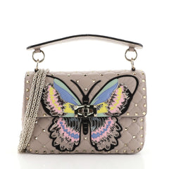Valentino Rockstud Spike Flap Bag Embroidered Quilted Leather Medium Neutral 458741