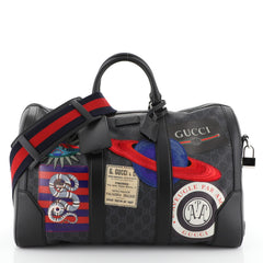 Gucci Courrier Carry On Convertible Duffle Bag GG Coated Canvas with Applique Small