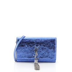 Saint Laurent Classic Monogram Tassel Chain Wallet Leather  Blue 459164