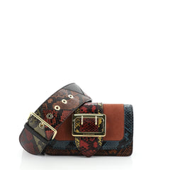 Burberry Patchwork Buckle Flap Bag Snakeskin with Leather Small Orange 459167