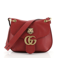 Gucci GG Marmont Animalier Shoulder Bag Leather Medium Red 459169