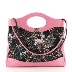 Chanel 31 Shopping Bag Quilted Printed Cotton and Calfskin Large Pink 45922163