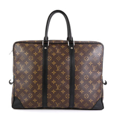 Louis Vuitton Porte-Documents Voyage Bag Macassar Monogram Canvas