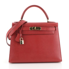 Hermes Kelly Handbag Red Courchevel with Gold Hardware 28