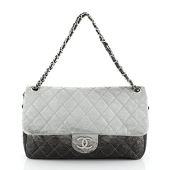 Chanel Melrose Degrade Flap Bag Quilted Patent Jumbo