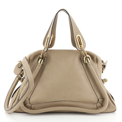 Chloe Paraty Top Handle Bag Leather Medium Neutral 45922224
