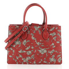 Gucci Convertible Gusset Tote Arabesque GG Coated Canvas Medium Red 45...