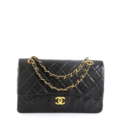 Chanel Vintage Classic Double Flap Bag Quilted Lambskin Medium Black 45922266