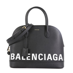 Balenciaga Logo Ville Bag Leather Medium Black 45922303