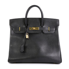 Hermes HAC Birkin Bag Black Ardennes with Gold Hardware 32
