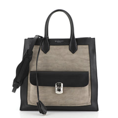 Balenciaga Padlock All Afternoon Tote Canvas with Leather Large Black 45922342