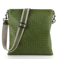 Bottega Veneta Flat Messenger Bag Intrecciato Nappa Medium Green 4592240