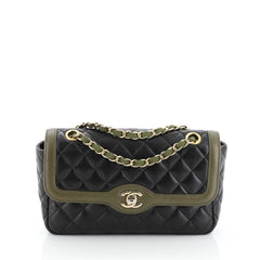 Two Tone Flap Bag Quilted Lambskin Small