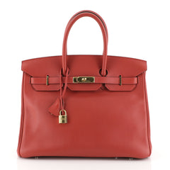 Hermes Birkin Handbag Red Swift with Gold Hardware 35