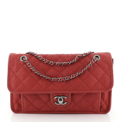 Chanel French Riviera Flap Bag Quilted Caviar Large